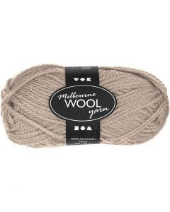 Pelote de laine Melbourne, L: 92 m, beige, 50 gr/ 1 boule