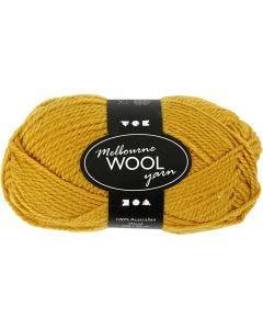 Pelote de laine Melbourne, L: 92 m, jaune foncé, 50 gr/ 1 boule