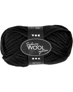 pelote de laine Sydney, L: 50 m, noir, 50 gr/ 1 boule