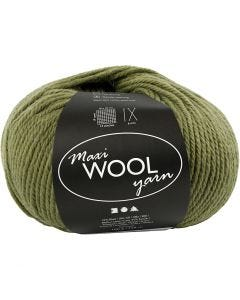 Pelotes de laine, L: 125 m, vert olive, 100 gr/ 1 boule