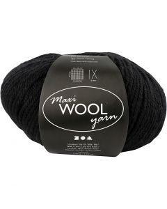 Pelotes de laine, L: 125 m, noir, 100 gr/ 1 boule