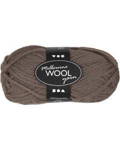 Pelote de laine Melbourne, L: 92 m, brun gris, 50 gr/ 1 boule