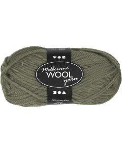 Pelote de laine Melbourne, L: 92 m, vert foncé, 50 gr/ 1 boule