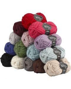 pelote de laine Sydney, L: 50 m, Le contenu peut varier , couleurs assorties, 15x50 gr/ 1 Pq.