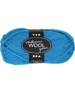 Pelote de laine Melbourne, L: 92 m, bleu clair, 50 gr/ 1 boule
