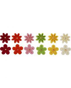 Fleurs en feutre, d: 30 mm, 12 pièce/ 1 Pq.