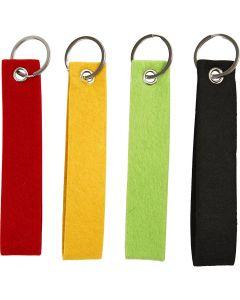Porte-clés, dim. 3x15 cm, noir, vert, rouge, jaune, 4 pièce/ 1 Pq.