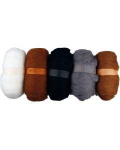 Pelotes de laine cardée, naturel, 5x100 gr/ 1 Pq.