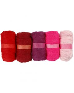 Pelotes de laine cardée, harmonie de rouges, 5x100 gr/ 1 Pq.