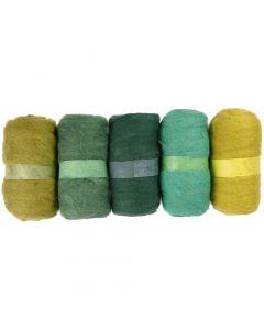 Pelotes de laine cardée, glitter vert, 5x100 gr/ 1 Pq.