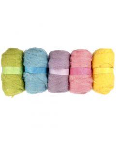 Pelotes de laine cardée, jaune pastel, 5x100 gr/ 1 Pq.