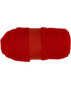 Pelote de laine cardée, rouge, 100 gr/ 1 boule