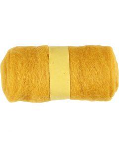 Pelote de laine cardée, jaune, 100 gr/ 1 boule