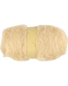 Pelote de laine cardée, beige clair, 100 gr/ 1 boule