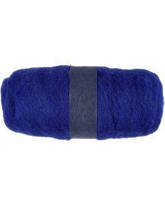 Pelote de laine cardée, bleu roi, 100 gr/ 1 boule