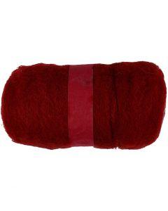 Pelote de laine cardée, warm red, 100 gr/ 1 boule