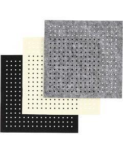 Feutre avec trous, dim. 20x20 cm, ép. 3 mm, noir, gris, blanc cassé, 3x4 flles/ 1 Pq.