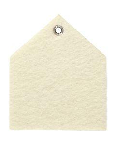 Formes en feutrine, dim. 6,5x7,5 cm, ép. 3 mm, blanc cassé, 5 pièce/ 1 Pq.