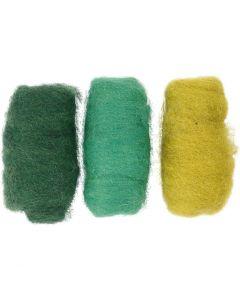 Pelotes de laine cardée, harmonie vert/turquoise, 3x10 gr/ 1 Pq.