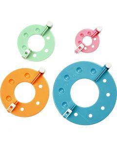 Gabarits pour pompons, d: 3,5+5,5+7+9 cm, 4 pièce/ 1 set