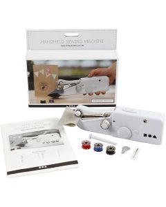 Mini machine à coudre portative, H: 6,7 cm, L: 20,5 cm, L: 3,5 cm, blanc, 1 pièce