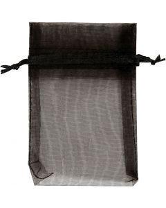 Sacs en organza, dim. 7x10 cm, noir, 10 pièce/ 1 Pq.