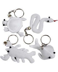 Figurines en tissu avec porte-clés, dim. 4-8 cm, 4 pièce/ 1 Pq.