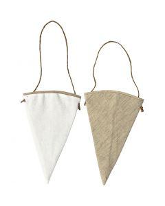 Formes en tissu, H: 18,5 cm, L: 12 cm, blanc, naturel clair, 6 pièce/ 1 Pq.