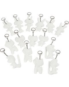 Figurines en tissu avec porte-clés, dim. 6-10 cm, blanc, 15 pièce/ 1 Pq.