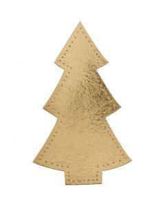 Sapin de Noël, H: 18 cm, L: 11 cm, 350 gr, or, 4 pièce/ 1 Pq.