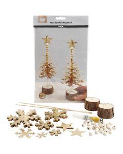 Sapins de Noël en papier imitation cuir, ép. 0,55 mm, or, 1 set