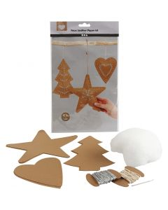 Décorations de Noël en papier imitation cuir, ép. 0,55 mm, naturel, 1 set