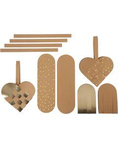 Coeurs en papier imitation cuir, ép. 0,55 mm, naturel, or, 1 set