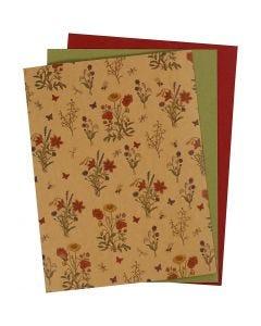 Papier imitation cuir, 21x27,5+21x28,5+21x29,5 cm, ép. 0,55 mm, unicolor,imprimé, naturel, vert, rouge, 3 flles/ 1 Pq.