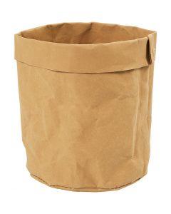 Sac de rangement en papier imitation cuir, H: 12 cm, d: 11 cm, 350 gr, brun clair, 1 pièce