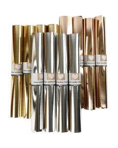Papier imitation cuir, L: 49 cm, ép. 0,55 mm, unicolor,film, or, argent, rose or, 12x1 m/ 1 Pq.