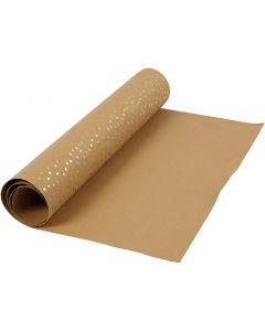Papier imitation cuir, L: 50 cm, unicolor,film, 350 gr, brun clair, or, 1 m/ 1 rouleau