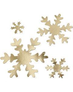 Flocon de neige, d: 3+5+8+10 cm, 350 gr, or, 16 pièce/ 1 Pq.
