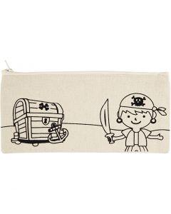 Trousse, pirate, dim. 21x9 cm, 245 gr, naturel clair, 1 pièce