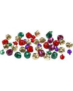 Clochettes assortiment, d: 10+14 mm, couleurs métalliques, 24 ass./ 1 Pq.