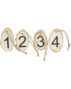 Disque en bois avec les chiffres de l'Avent, 4 pièce/ 1 Pq.