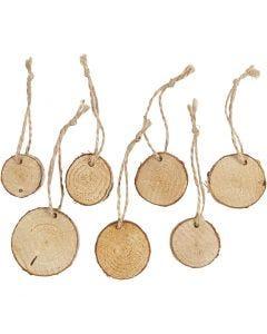Disque en bois avec trou pour ficelle, d: 35-45 mm, ép. 7 mm, 7 pièce/ 1 Pq.