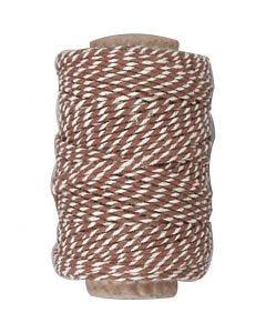 Ficelle de coton, ép. 1,1 mm, brun/blanc, 50 m/ 1 rouleau