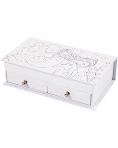 Boîte à bijoux, H: 5 cm, dim. 18x10,5 cm, blanc, 1 pièce