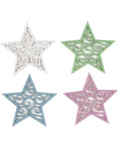 Étoiles feutrées, d: 46 mm, ép. 1 mm, 20 pièce/ 1 Pq.