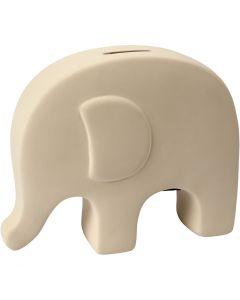 Tirelires éléphants, H: 14 cm, L: 16,7 cm, blanc, 8 pièce/ 1 boîte