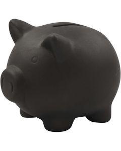 Tirelire cochon, H: 10 cm, L: 10,5 cm, noir, 8 pièce/ 1 boîte