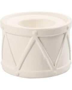 Bougeoir, H: 6,6 cm, d: 9,3 cm, diamètre intérieur 2,2+4 cm, blanc, 2 pièce/ 1 Pq.