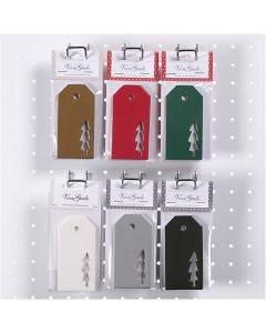 Étiquettes, Arbre de Noël, dim. 5x10 cm, 300 gr, 6x10 Pq./ 1 boîte