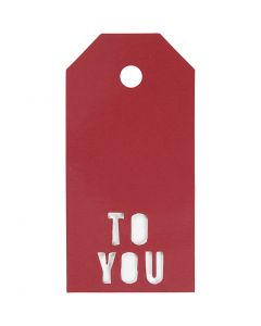 Étiquettes cadeau, TO YOU, dim. 5x10 cm, 300 gr, rouge, 15 pièce/ 1 Pq.